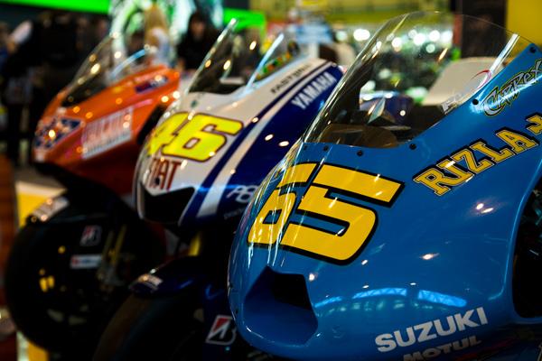 Loris Capirossi, Valentino Rossi and Casey Stoner Moto GP Race Bikes at the NEC